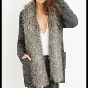 Forever 21 Contemporary Faux Fur knit cardigan